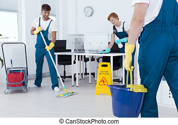 Busy professional cleaners working in an office