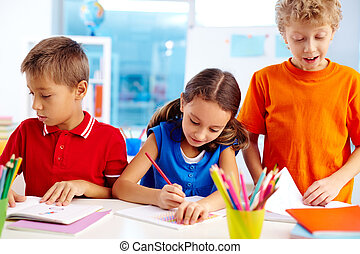 Busy pupils - Pupils being busy with school work
