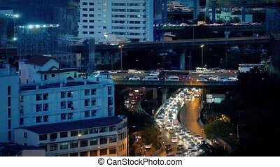 Busy Road System At Night
