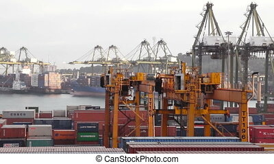 Busy Seaport - Close up of Cranes in a harbor with a lot of...