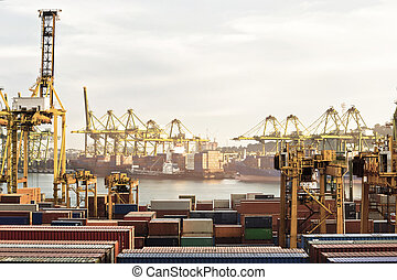Harbor with lots of Cranes and cargo containers in a golden sunset view.