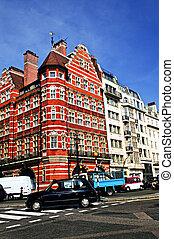 Busy street corner in London