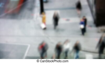 Busy street corner. Timelapse. - Defocused shot of busy...