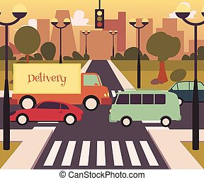 Busy street crosswalk in modern city, road traffic with bus, card and delivery truck