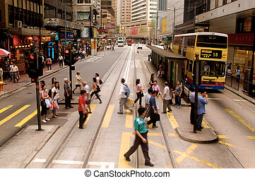Busy street in Hong Kong, China - HONG KONG - JULY 08:...
