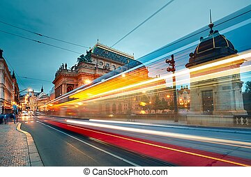 Busy street in Prague - The historic building of the...