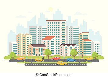 Busy street life - modern colorful flat vector illustration
