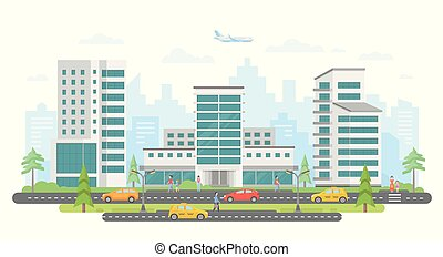 Busy street - modern colorful flat vector illustration