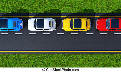 busy street (top view) - busy street, cars on asphalt and...