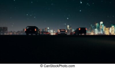 Busy streets and lights in downtown traffic night