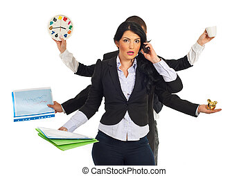 Busy stressed business woman - Busy business people holding...