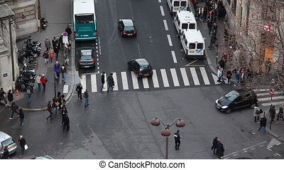 Busy traffic and crosswalk in center of Paris - busy traffic...