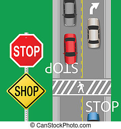Busy Traffic Cars Stop Sign Street