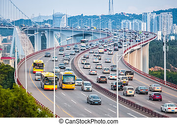 busy traffic closeup on the bridge