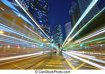 Busy traffic in city at night - Pearl of the East: Hong Kong.