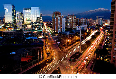 Santiago, Chile - Busy traffic in Santiago, Chile with the...
