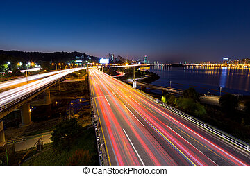 Busy traffic in Seoul city