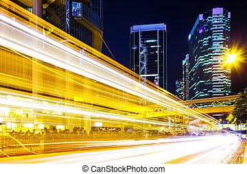 Busy traffic light in city
