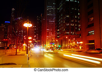 Busy traffic on Chicago road in night time, USA