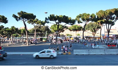 Busy traffic on Termini bus station in square Cinquecento