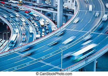 busy traffic on the interchange bridge