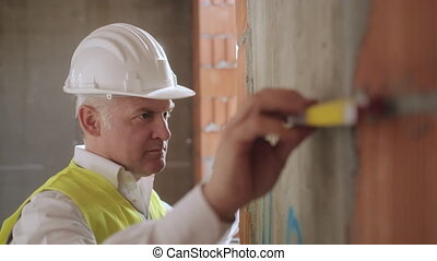 Busy White Man Working As Architect In Construction Site