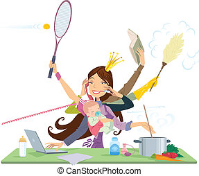 Busy mother doing simultaneously many tasks cooking cleaning reading working and talking on the phone