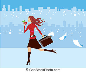 Busy Woman - Illustration of a very busy woman, well dressed...