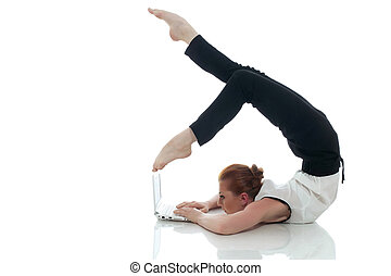 Busy woman posing with notebook in unreal pose, isolated on...
