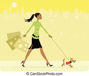 Busy woman carrying gift bags and walking with dog.