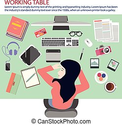 busy woman taking nap on the working table.eps