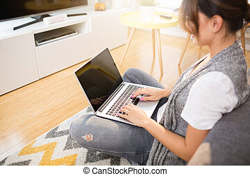 Busy woman working at home