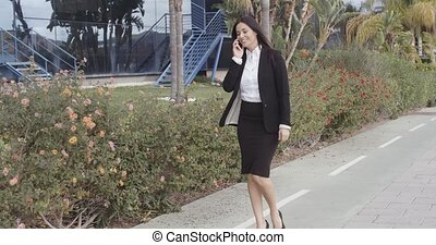 Busy young businesswoman walking along a street