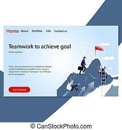 but, atterrissage, ensemble, achive, travail, reussite, collaboration, page.
