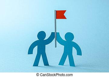but, business, goal., drapeau, seeks, équipe, réaliser, rouges