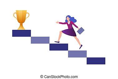 but, courses, colonne, en mouvement, colonnes, elle, ascendant, vers, motivation, business, sentier, accomplir, femme, long, rewards.