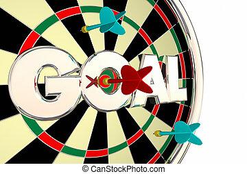but, mot, mission, objectif, cible, panneau dard, 3d, illustration