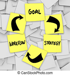 but, reussite, flot travail, notes, -, collant, plan, stratégie