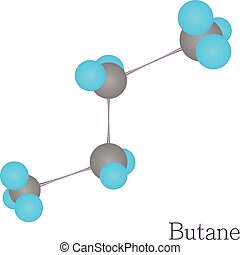 Butane 3D molecule chemical science, cartoon style - Butane...