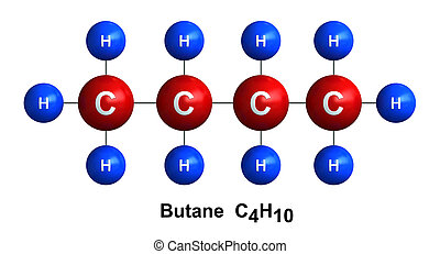 Butane - 3d render of molecular structure of butane isolated...
