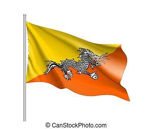 Butane flag, vector flat style - Waving flag of Butane....