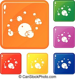 Butane icons set vector color