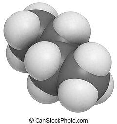 Butane, molecular model