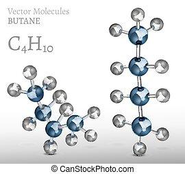 Butane Molecules SET - Butane molecule in different shapes...