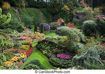 Butchart Gardens on Canada - Sunken Garden - the central and...