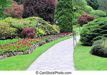 butchart, jardin, paysage