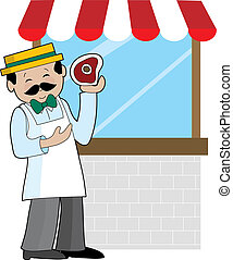 A butcher standing in front of his shop window