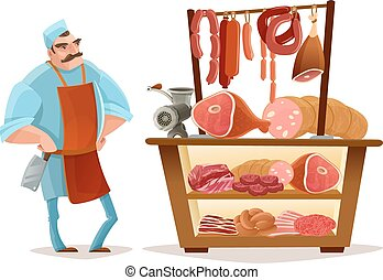 Butcher Cartoon Concept - Butcher and meat market cartoon...