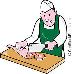 Butcher Chopping Meat Cartoon