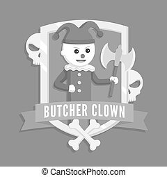 Butcher clown logo vector illustration design
